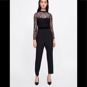 Zara Black Contrast Lace Jumpsuit 2065/733